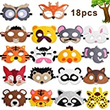 Hicdaw Animal Masks for Kids, 18Pcs Animal Felt Masks Farm Animal Mask Great for Forest Themed Birthday Parties Wild Animal Theme for Kids