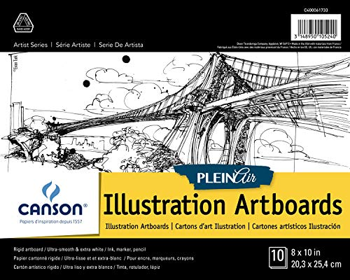 Canson Plein Air Illustration Smooth Art Board Pad for Ink, Markers and Pencils, 8 x 10 Inch, Set of 10 Boards