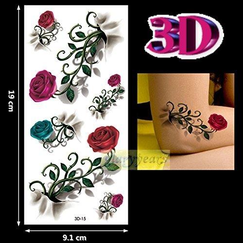 3D-15-(model 20 3D) autocollants de tatouage temporaire Body réaliste 3D dessins Bijoux amovible imperméable autocollant feuille tridimensionnelles effet