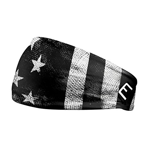 Unisex Headband / Sweatband. Best for Sports, Fitness, Working Out, Yoga. Tapered Design. (Shadow Old Glory)
