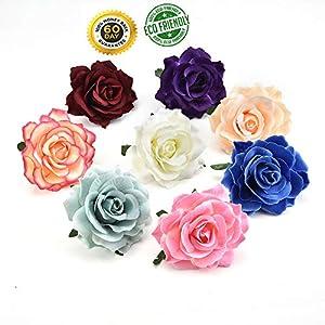 Artificial Silk Flowers Heads Bulk Simulation Peony Flowers Head for Home Wedding Party DIY Scrapbooking Decoration Fake Flowers 8PCS 10cm (Multicolor) 25