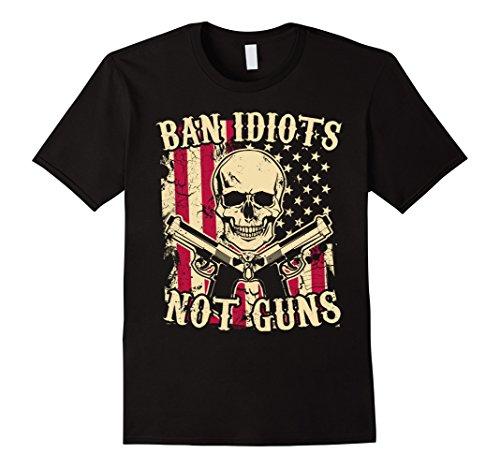 Men's Ban Idiots Not Guns / American Flag / Skull T-Shirt 2XL - Ban American