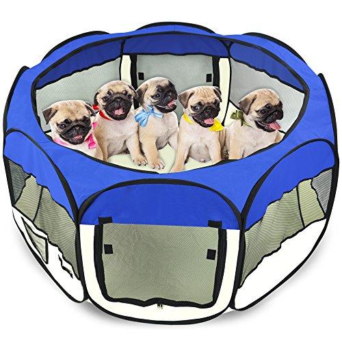 "Yaheetech 45"" Folding Pet Puppy Dog Playpen Exercise Pen Kennel 600d Oxford Cloth (Blue)"