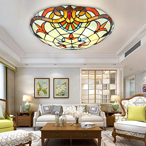 Tiffany Style Ceiling Light, European Creative Round/Stained Glass Ceiling Lamp, Mediterranean Recessed Spotlights Chandelier (Color : White light, Size : 50cm)
