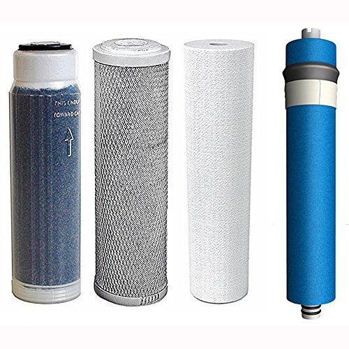 "Aquatic Life 50-GPD Membrane PLUS Reverse Osmosis Deionization (RODI) 10"" Replacement Filter Kit (Sediment Cartridge, Carbon Cartridge, Color Indicating DI Cartridge with ResinTech MBD-30-NG Resin)"