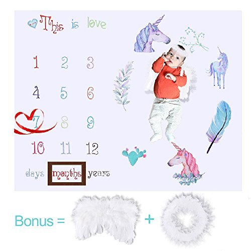 JCSHHUB Baby Monthly Milestone BlanketPhoto PropsUnicornPhotography BackdropSwaddlingLarge Size Newborn/Growing Boy & Girl+Angel Wings& Halo