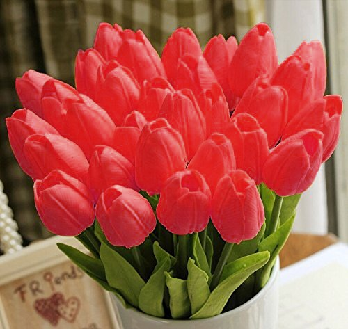 StillCool Artificial Flowers Tulip 12pc/set Pu Stunning Holland Mini Tulip Real Touch Wedding Flower Artificial Flowers Latex Plants for Party Home Hotel Event Christmas Gift Decoration (Red)