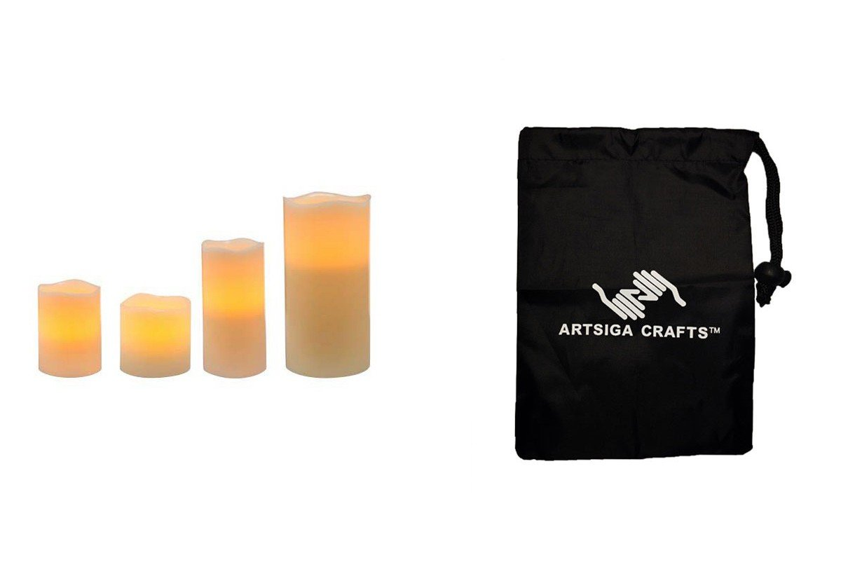 Darice Candle Pillar Flameless LED Wax 3X4 3X6 4X4.5 4X8 w/ Timer Unscented 4Pc (3 Pack) 30019513 bundled with 1 Artsiga Crafts Small Bag by Homeline Goods Candles