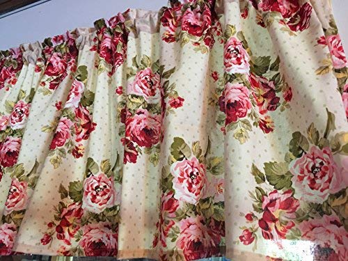 (Roses and Dots Cranberry Pink Cotton Window Curtain Valance handmade 42
