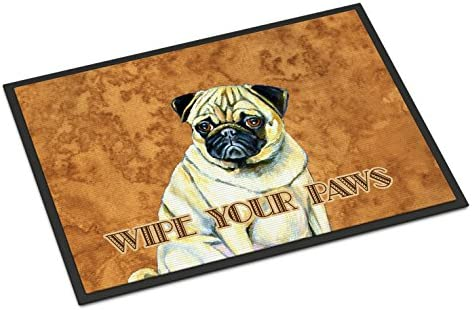 Caroline s Treasures LH9456JMAT Fawn Pug Wipe Your Paws Indoor or Outdoor Mat 24×36, 24H X 36W, Multicolor
