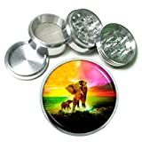 Rainbow Animal Elephant Em1 Silver Chrome 63mm Aluminum Magnetic Metal Herb Grinder 4 Piece Hand Muller Spices & Herb Heavy Duty 2.5''