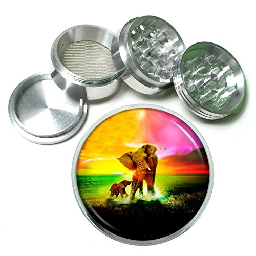 Rainbow Animal Elephant Em1 Silver Chrome 63mm Aluminum Magnetic Metal Herb Grinder 4 Piece Hand Muller Spices & Herb Heavy Duty 2.5'' by Sandpipper