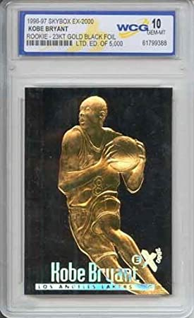 bc0fc5399b7 1996 KOBE BRYANT - Skybox 23K Black Gold ROOKIE Card at Amazon's Sports  Collectibles Store