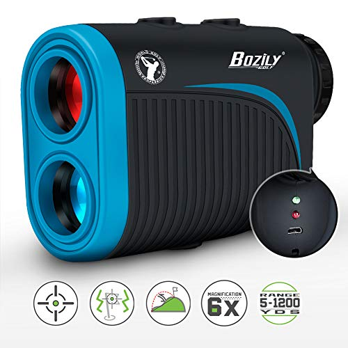 Bozily Golf Rangefinder, 6X Rechargeable Laser Range Finder 1200 Yards with Slope Adjustment, Flag-Lock, Slope ON/Off, 4 Scan Mode, Continuous Scan Support - Tournament Legal Golf Rangefinder