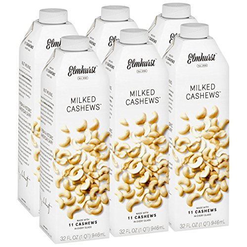 Elmhurst Milked - Cashew Milk - 32 Fluid Ounces (Pack of 6). Only 5 Ingredients, 5X the Nuts, Non Dairy, Barista Approved, No Added Gums or Emulsifiers, Vegan