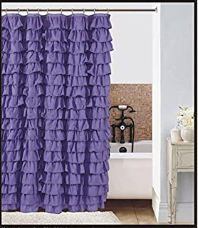 Waterfall Ruffled Fabric Shower Curtain (Purple)