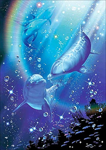Dolphin Diamond Painting- 5d Diamond Painting Kits, Full Coverage, Round Rhinestone, DIY Tool Kit Art Supplies- Fun Gifts for Friends&Family, Adults&Children, Craftwork for Indoor Décor(q141)