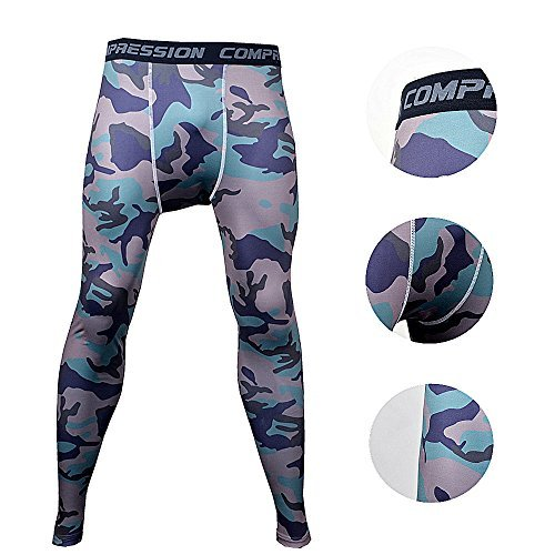 BeneU Mens Camouflage Sports Running Basketball Compression Tight Leggings Pants