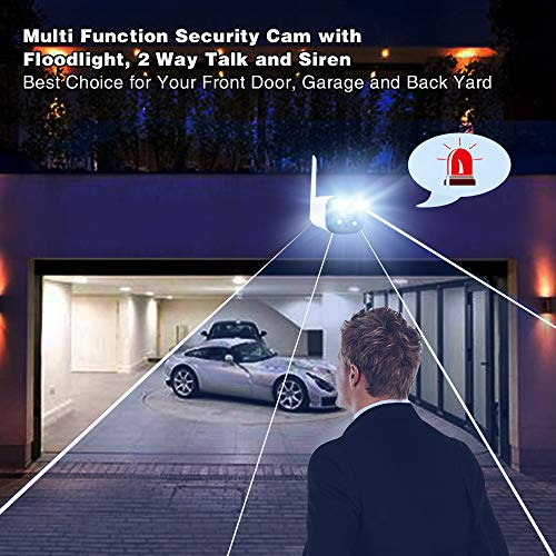 Wireless Security Camera Outdoor,WiFi Surveillance Camera with 2-Way Talk,Floodlight and Siren Alarm,AI Human Detection Color Night Vision,Free App,Onvif Compatible