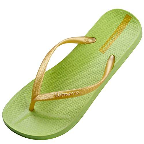 Hotmarzz Women's Slim Flip Flops Summer Sandals Beach Slippers Shower Shoes (7 B(M) US/38 EU, Lime)