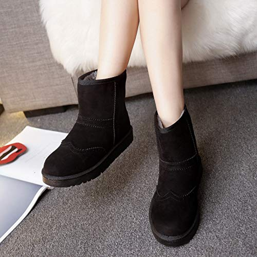 Anti Slip Snow Boots Boots Boots Bottomed Thick Plush Flat Boots AGECC Winter Black wIgXgq