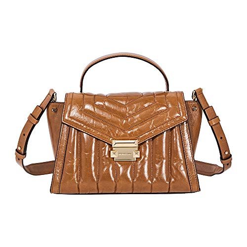 Whitney polished leather top handle satchel