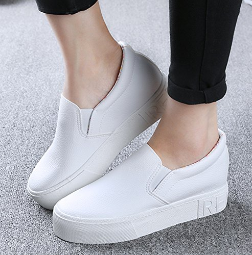 Womens Sneaker Inside Heel On Leather Slip White Increasing Sfnld dqp10wdZ
