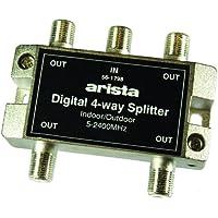 Arista 4-Way Digital Coax Cable Splitter 2.4GHz/2400MHz - Indoor/Outdoor/Bi-Directional(56-1798)