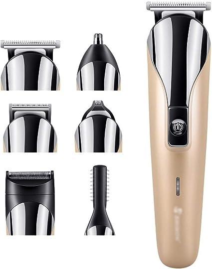 LIBILAA 6 en 1 cortador de pelo multifunción set cortador de pelo recargable máquina de corte de pelo peluquería (Color : Oro): Amazon.es: Belleza