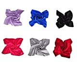 Clothing Accessories Best Deals - Herrico Pure Color Silk Scarves Clothing Accessories Square Scarf Fashion (Multicolor 6PCS B)