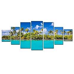 Startonight Huge Canvas Wall Art Sunny Beach, USA Large Home Decor, Dual View Surprise Artwork Modern Big Framed Wall Art Set of 7 Panels Total 39.37 x 94.49 inch
