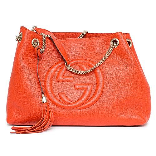 28d443f384a6 Gucci Soho Leather Shoulder Bag Sun Orange Handbag – Anna's Collection