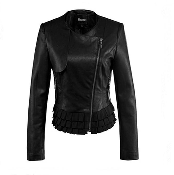 HONRU carcasa fina Cool para mujer traje de neopreno para mujer funda de piel con tapa PUNK Moto abrigos Blazers motociclismo chaqueta de talla: Amazon.es: ...