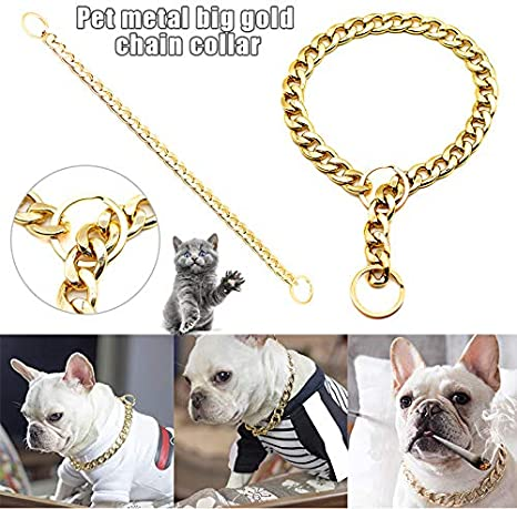 PerGrate Luxurious Fashion Pet Metal Collar 45cm and 55cm Link Thick Gold Chain Pets Safety Collar 35cm Pet Dog Adjustable Chain Collar Punk Gold Plated Collars