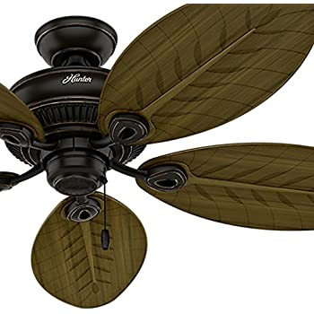 Amazon hunter fan company 54095 caribbean breeze 54 inch hunter fan 54 in indooroutdoor ceiling fan without light in onyx bengal 5 palm shaped fan blades included certified refurbished mozeypictures Images