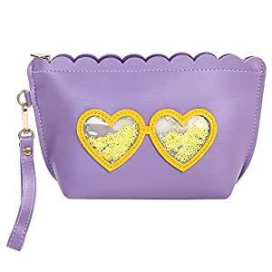 HOYOFO Makeup Bag Travel Cosmetic Pouch with Wrist Strap Cute Accessories, Purple