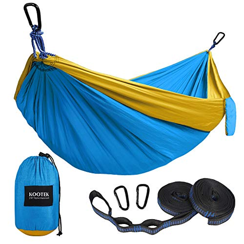 Kootek Camping Hammock Portable Indoor Outdoor Tree Hammock with 2 Hanging Straps, Lightweight Nylon Parachute Hammocks for Backpacking, Travel, Beach, Backyard, Hiking (Gold/Lake Blue, L)