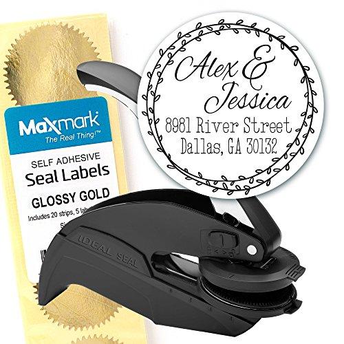 Custom Monogram Address Embosser - Personalized Round Seal with 50 Gold Seal Labels - Style EM032 (Artwork Embosser Custom)
