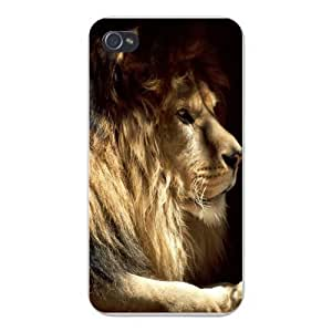 Apple Iphone Custom Case 5 / 5s White Plastic Snap on - Male Lion w/ Mane King of Jungle African Big Cat
