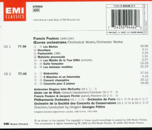 Poulenc: Orchestral Works by EMI Angel Records