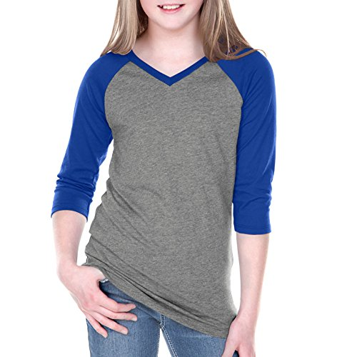 6 Sheer Jersey Contrast V Neck Raglan 3/4 Sleeve Dark H.Gray/Cobalt Blue L (Sheer Kids Shirt)