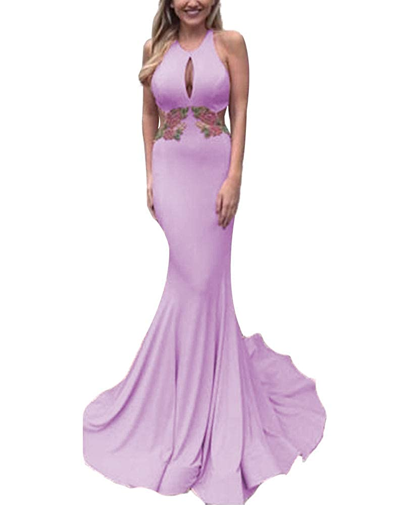 Lavender Promworld Women's Applique Keyhole Mermaid Prom Dress Open Back Evening Gowns with Train