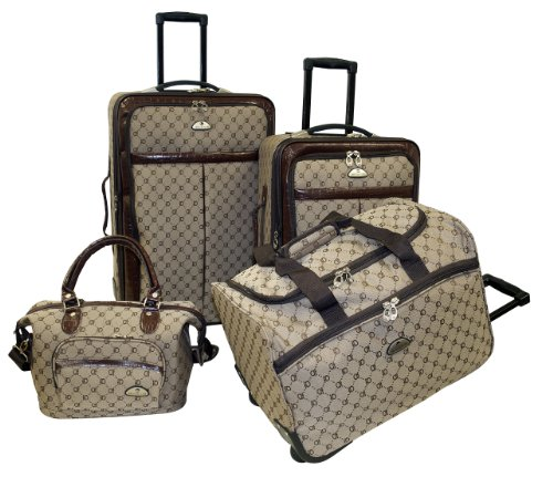 Fleur De Lis Luggage (American Flyer Luggage Signature 4 Piece Set, Brown, One)