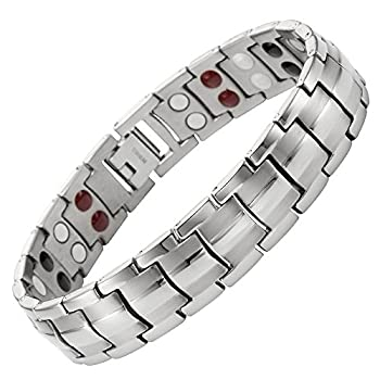 Double Strength 4 Element Titanium Magnetic Therapy Bracelet for Arthritis Pain Relief Adjustable By Willis Judd
