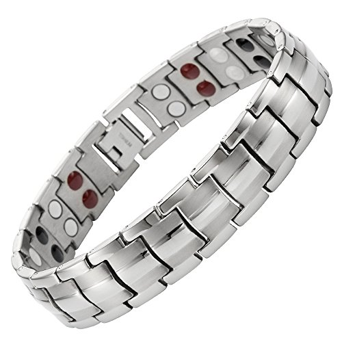 Double Strength 4 Element Titanium Magnetic Therapy Bracelet for Arthritis Pain Relief Adjustable By Willis Judd - 4 Light Elements