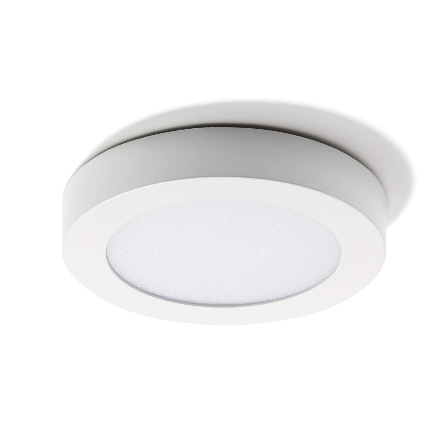 Damp Located 1200 Lumens ETL Listed LampLust LC003801 3000K Bright White 7 Inch LED Thin Disc Round Dimmable Lighting Fixture Round Flush Mount Ceiling Light