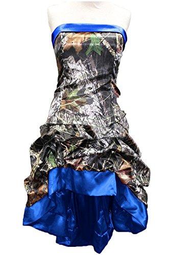 Dresstory Chic Camo Prom Party Dress Short Hi-Lo Strapless Wedding Party Dress Royal Blue US14