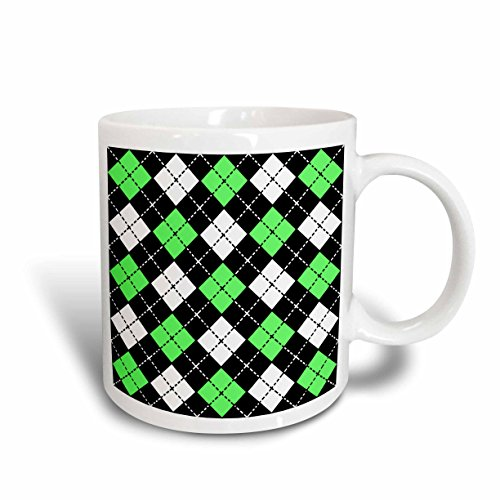 Roses Argyle (3dRose Argyle Design Green Black White Mug, 11-Ounce)