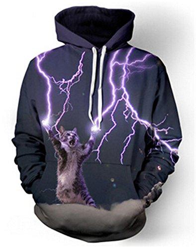 Jamemcabin Sweatshirt Cat Lightning Thunder 3D Hoodie Women Men Sweatshirts Hooded Casual Sweats 1 XXL