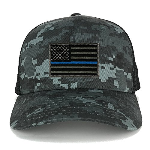 US American Flag Embroidered Patch Adjustable Camo Trucker Cap - NTG-BLACK - Thin Blue